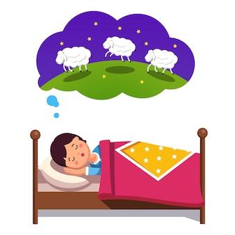Menino adolescente tentando dormir contando ovelhas salteando