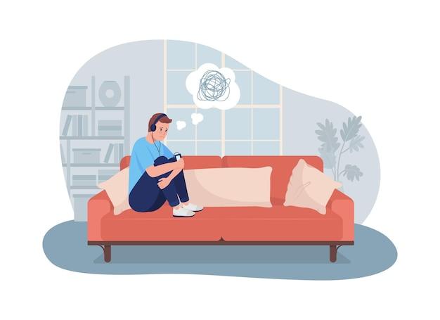 Menino adolescente triste e solitário em casa ilustração vetorial 2d isolada