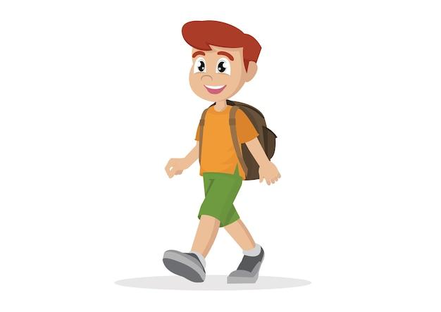 Menino africano dos desenhos animados andando.