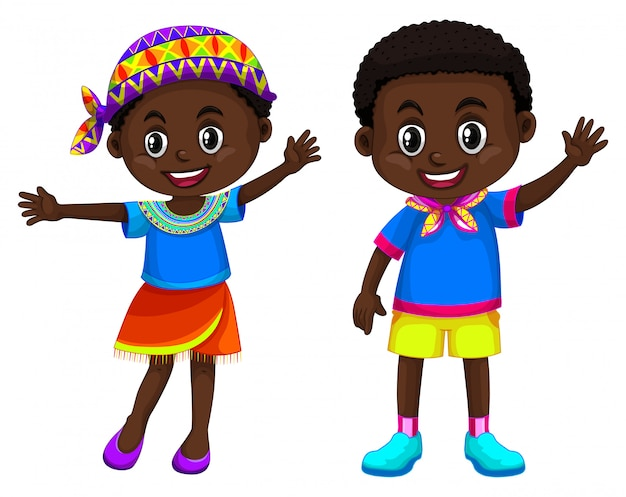 Menino africano, e, menina sorri