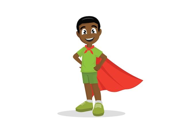 Menino africano em traje de super-heróis.