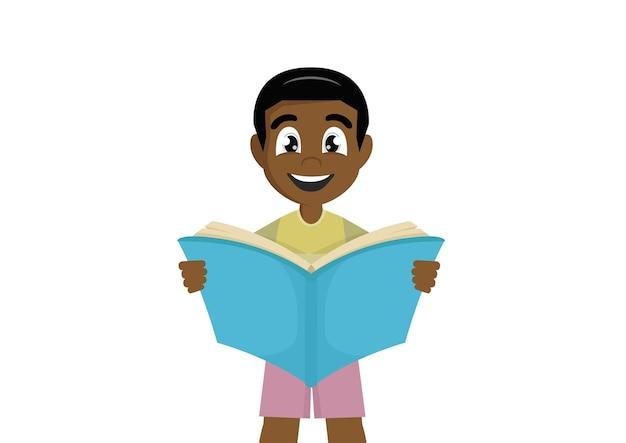 Menino africano está lendo um livro tão grande