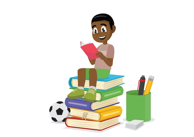 Menino africano lendo livros vetor eps10
