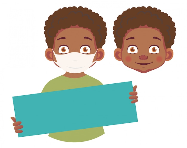 Menino africano na máscara segurando cartaz