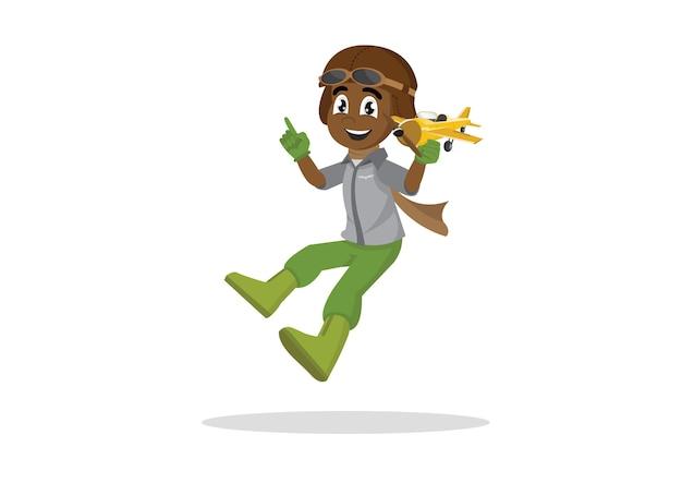 Menino africano nos vidros piloto que jogam com avião do brinquedo.