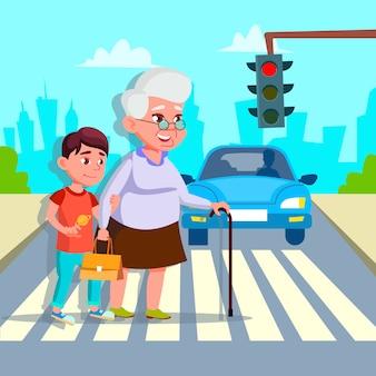 Menino, ajudando a mulher sênior, atravessando o desenho de rua