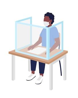 Menino aluno em máscara em personagem de vetor de cor semi plana de aula. figura do aluno. pessoa de corpo inteiro em branco. após a pandemia isolada ilustração do estilo dos desenhos animados modernos para design gráfico e animação