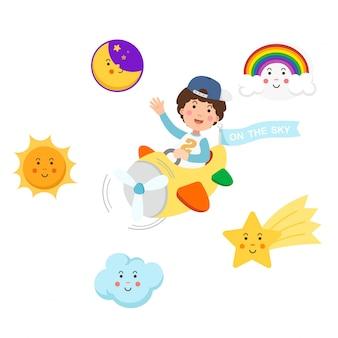 Menino andando de avião no céu e símbolo conjunto, ilustração isolada