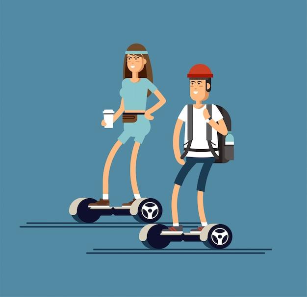 Menino andando em duas rodas mini segway