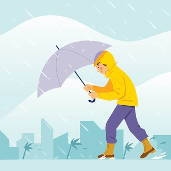 Menino andando pela grande tempestade com guarda-chuva