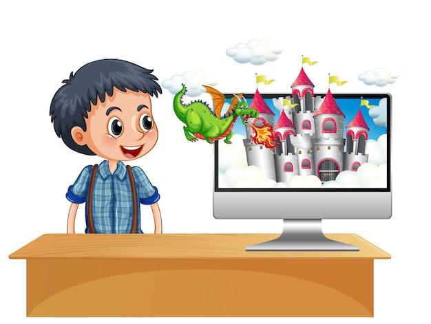 Menino ao lado do computador com o fundo da tela do castelo