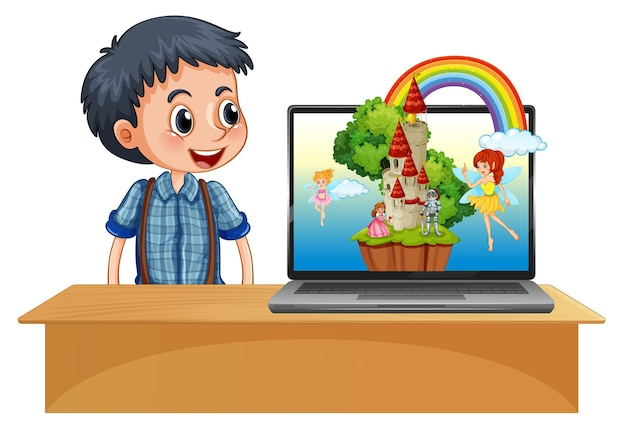 Menino ao lado do laptop na mesa com fantasia