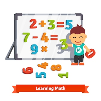 Menino aprendendo matemática