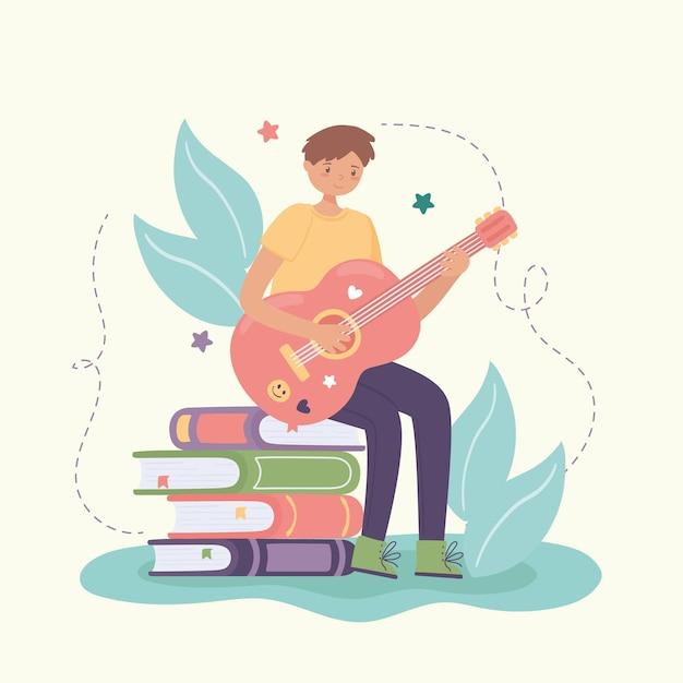 Menino aprendendo violão