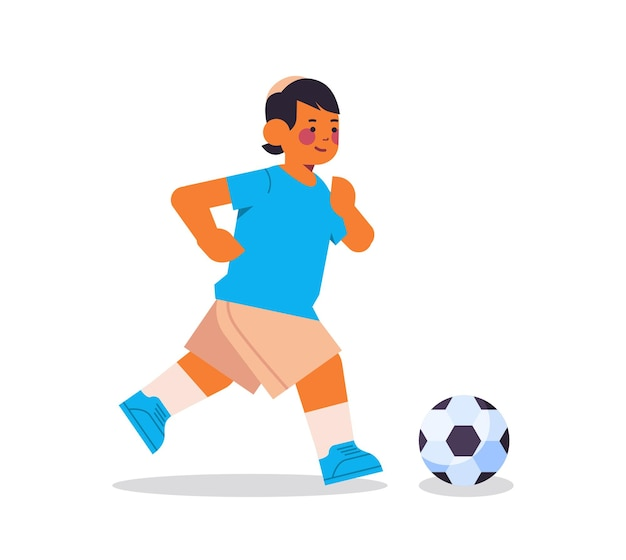 Menino árabe jogando futebol estilo de vida saudável infância conceito comprimento total isolado ilustração vetorial