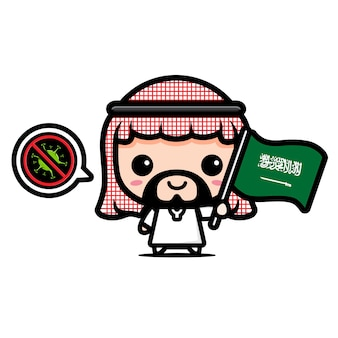 Menino árabe saudita com bandeira contra vírus