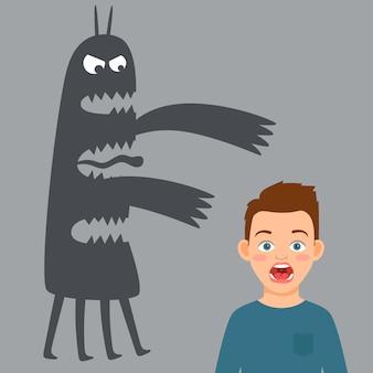 Menino assustado e medo ilustração de monstro