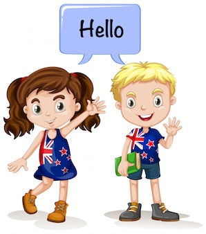 Menino australiano e menina dizendo olá