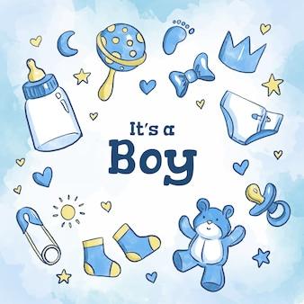 Menino azul do chuveiro de bebê