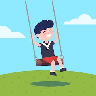 Menino balançando em um balanço de corda