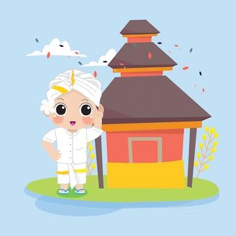 Menino balinesa em frente ao templo