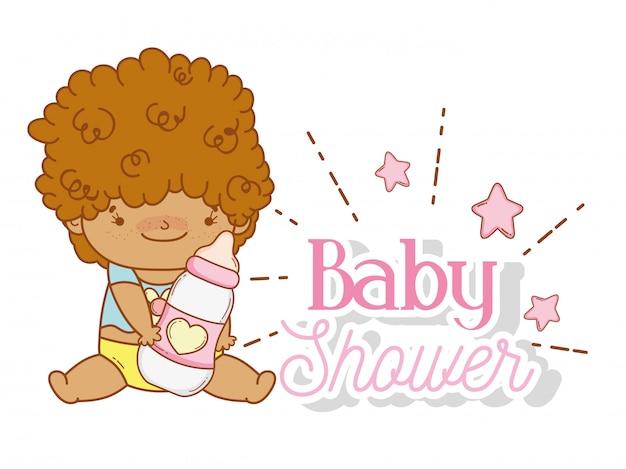 Menino bebê, com, mamadeira, e, estrelas