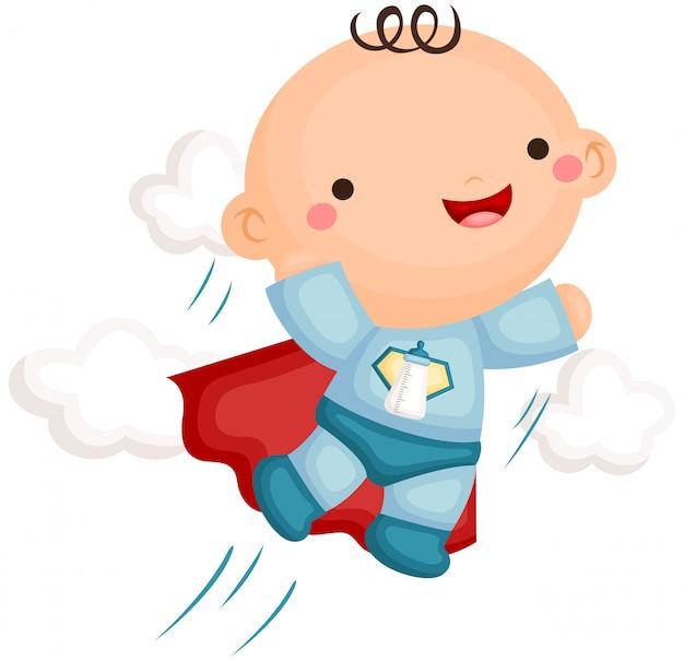 Menino bebê, em, superhero, traje