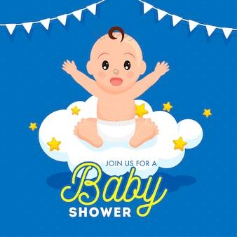 Menino bebê, sentando, ligado, nuvem, com, estrelas, e, bunting, bandeiras, decorado