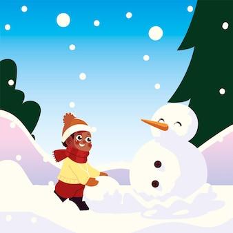 Menino bonitinho com bola de neve fazendo boneco de neve em ilustração vetorial de cena de inverno