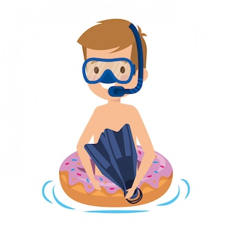 Menino bonitinho com flutuador de donut e snorkel