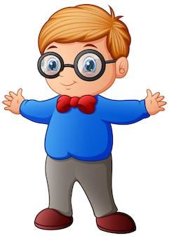 Menino bonitinho na camisa azul e óculos