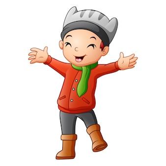 Menino bonitinho na ilustração de roupas de inverno