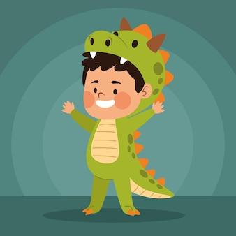 Menino bonitinho vestido como um personagem de dinossauro, desenho de ilustração vetorial