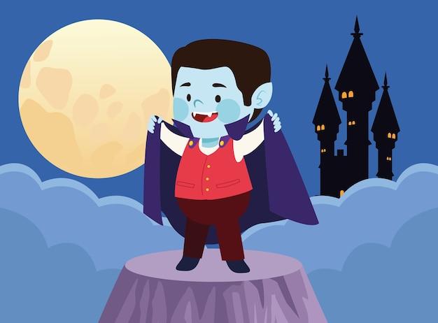 Menino bonitinho vestido como um personagem de drácula e desenho de ilustração vetorial de castelo