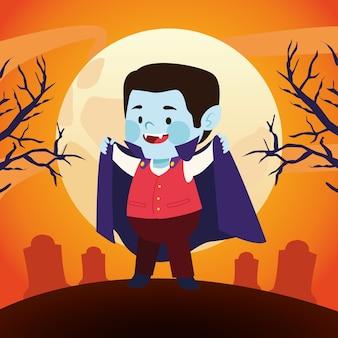 Menino bonitinho vestido como um personagem do drácula no design de ilustração vetorial de cemitério