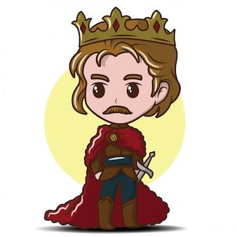 Menino bonitinho vestindo o rei., conceito de desenho animado de conto de fadas