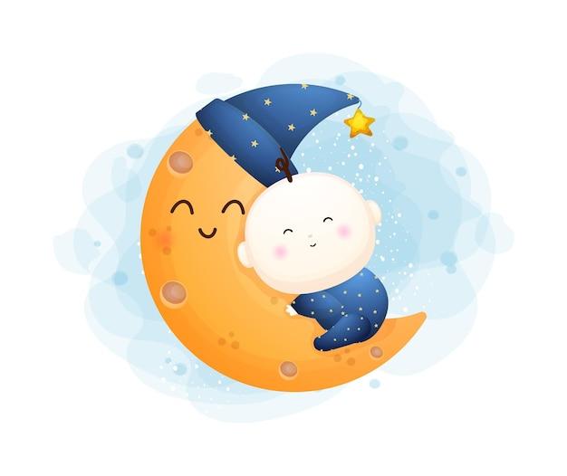 Menino bonito abraçando um personagem de desenho animado da lua. ilustração do conceito de bebê vetor premium