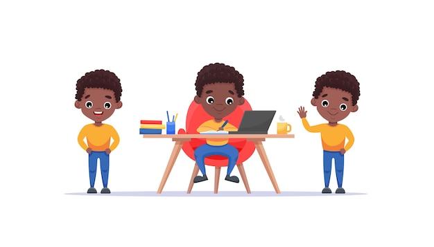 Menino bonito afro-americano com penteado afro e diferentes gestos e poses isolados. menino estuda à mesa em casa. ilustração de desenho animado