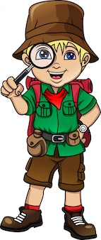Menino bonito alpinista com lente de aumento