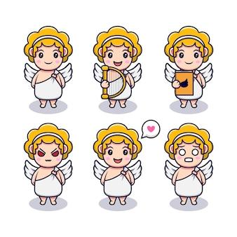 Menino bonito anjo com conjunto de expressões diferentes
