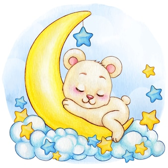 Menino bonito aquarela urso branco dormindo na lua