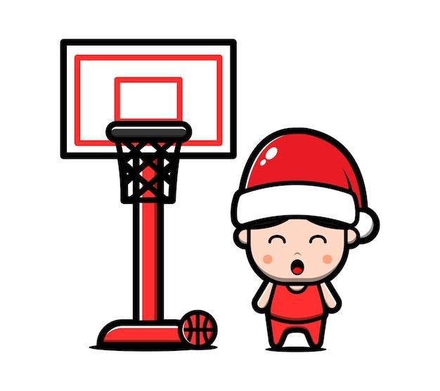 Menino bonito com chapéu de papai noel jogar ilustração dos desenhos animados de basquete. conceito de natal