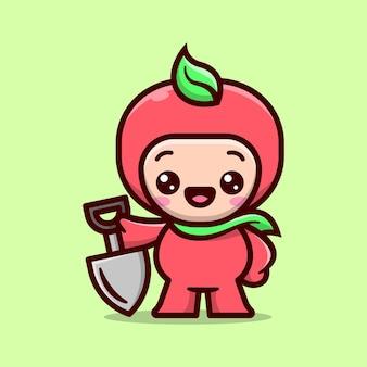 Menino bonito com mascote de desenho animado de traje de fruta