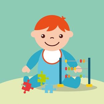 Menino bonito da criança com brinquedos ábaco e quebra-cabeças