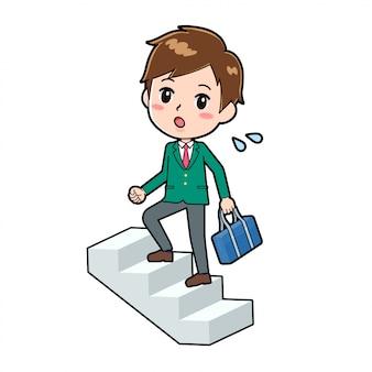 Menino bonito de desenho animado, subir escadas