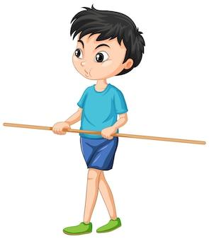 Menino bonito de pé e segurando uma alça de madeira