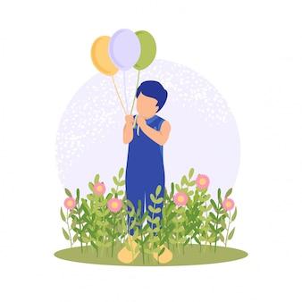 Menino bonito de primavera jogando flor e balão