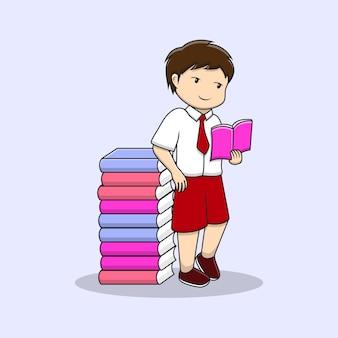 Menino bonito de volta às aulas lendo livro