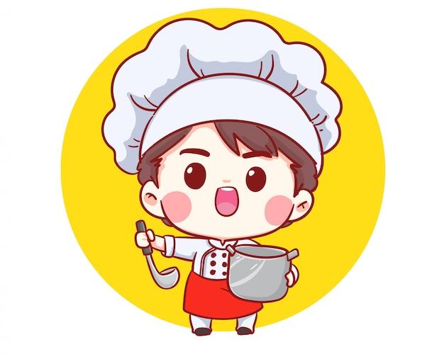 Menino bonito do cozinheiro chefe da padaria que cozinha o logotipo de sorriso da ilustração da arte dos desenhos animados.