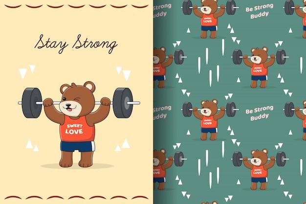 Menino bonito do ginásio urso padrão sem emenda e cartão